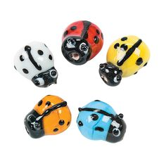 Bright Ladybug Lampwork Glass Beads - 8mm x 11mm - OrientalTrading.com