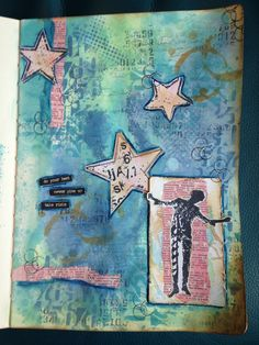 Art journal page with #distressoxides and #dinawakely stamps.