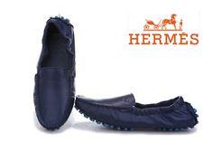 Hermes Ladies Ballerina Flat Shoe Navy Blue