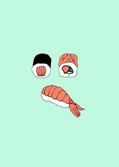 Sushi illustration - Food illustration  Candelaria Silva