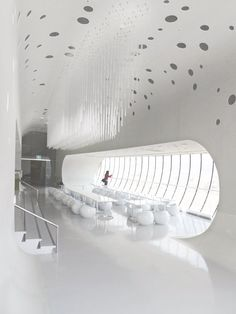 Jeongok Prehistory Museum :: X-TU Architects Futuristic Interior, Futuristic Design, Futuristisches Design, Modern Design, Amazing Architecture, Interior Architecture, Design Comercial, Interior Exterior, Interior Design