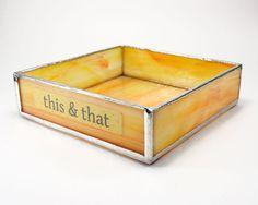 Yellow Glass Tray, Desk Organizer Box, Office Decor, Office Organizer, Paper Clip Holder, Craft Tray, Office Organization, Desk Accessory