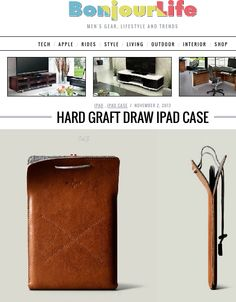 """"""" The distinction lies in both the material (high quality lining on tanned leather) and design. Pull the marled rope, fasten with metal stopper and your iPad is fortified..."""" Bonjourlife"""