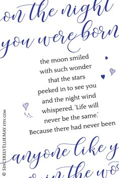 'On The Night You Were Born' blue and black baby boy printable Boy Printable, Printable Designs, Printable Wall Art, Nursery Poem, Nursery Wall Decor, Black Baby Boys, Handwritten Fonts, Bedroom Art, Mothers