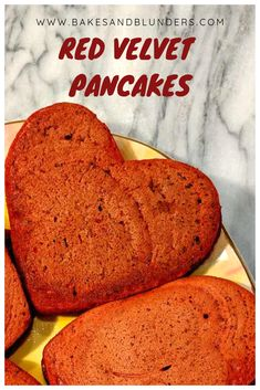 Make Valentine's Day breakfast super special with these heart shaped red velvet pancakes! Your loved ones will be thrilled to eat super thick, fluffy pancakes with a touch of chocolate. Buttermilk Pancakes Fluffy, Baked Pancakes, Red Velvet Pancakes, Velvet Cake, Heart Shaped Pancakes, Pancake Calories, Heart Shaped Cookie Cutter, Cream Cheese Glaze, Chocolate Chip Pancakes