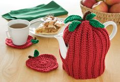 Free Apple Tea Cozy & Coasters pattern from the Talking Crochet newsletter. Subscribe: www.AnniesNewsletters.com.