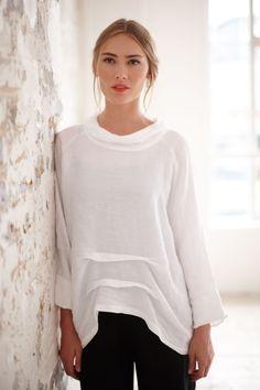 Shimmer Linen Cowl Neck Top in white | Sahara Pre-AW16