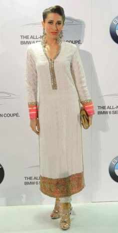 Actress Karishma Kapoor looks stunning in this white #salwar.