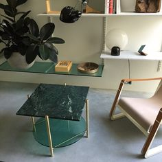 #STRT table in green glass and marble and a bit of #jeanprouve