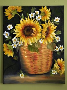 On My Easel Sunflowers And Daisies, Sun Flowers, Painted Pumpkins, Painted Rocks, Painting Tips, Painting & Drawing, Sunflower Canvas, Deco Paint, Picture Puzzles