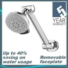 Hi Rise Adjustable Wall Mounted Shower Arm With 105mm Water Saving Dual  Function Head SJA003
