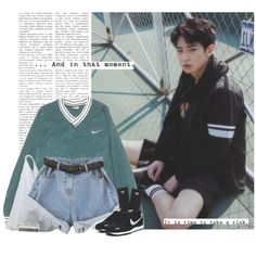 Chanyeol: and in that moment, it is time to take a risk. by yxing on Polyvore featuring NIKE, adidas, Wallflower, Tag, kpop, EXO, chanyeol and bless
