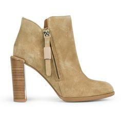 See by Chloe Women's Suede Heeled Ankle Boots - Beige ($395) ❤ liked on Polyvore featuring shoes, boots, ankle booties, beige, wedge heel boots, wedge booties, leather wedge booties, high heel booties and wedge boots