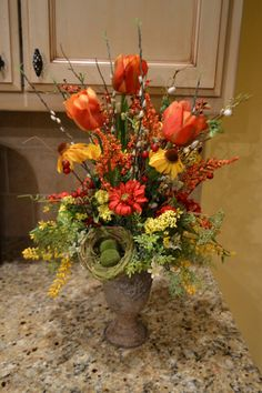 Spring Tulip And Nest Arrangement by kristenscreations on Etsy