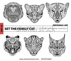 set the family cat, coloring book for adults, zentangle art, pattern, hand drawn illustration, coloring book, coloring pages, coloring outline, line art coloring