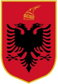 Arms of Albania Blazon: Gules a double-headed eagle displayed sable, in chief a helmet surmounted with a goat's head or (Please note: Technically, the Albanian coat of arms does violate the law of tincture, but since the law was formulated in France, it is only applied consistently in England and France.)