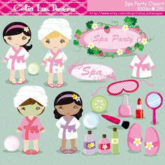 Spa Party Digital Clipart / Girls Spa Party Cute Clip for Personal and Commercial Use / I Kids Spa Party, Pamper Party, Planners, Party Invitations Kids, Cute Clipart, Cute Dinosaur, Scrapbooking, Party Needs, Slumber Parties