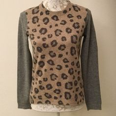 Rebecca Taylor Animal Print Sweater This is a really cute tan and grey wool Rebecca Taylor sweater, size XS. It has a cute zipper detail on the shoulder. Rebecca Taylor Sweaters Crew & Scoop Necks