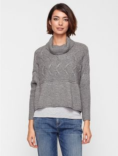 Eileen Fisher Turtleneck Cropped Poncho with Sleeves in Alpaca/Silk $318.40 ($398.00 original)