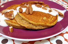 Pancakes don't have to be a breakfast-only meal, especially when it's a stack of these pumpkin pancakes. The maple yogurt topping helps give the dish a sweetness that makes it feel like dessert.