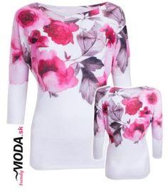 Moderný pulóver s atraktívnou potlačou ružových kvetov vo veľkostiach i pre moletky.-trendymoda.sk Cover Up, Dresses, Fashion, Vestidos, Moda, Fashion Styles, Dress, Fashion Illustrations, Gown