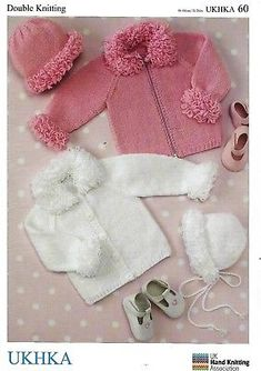 """Baby Cardigans Bonnet with Loopy Trim DK KNITTING PATTERN(16""""-26) UKHKA 60"""