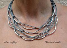 Collar de cuero cuero y joyería de plata por ChristineChandler