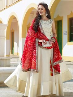 Shop Anarkali suit silk in cream color online from G3fashion India. Brand - G3, Product code - G3-WSS00255, Price - 8295, Color - Cream, Fabric - Silk,
