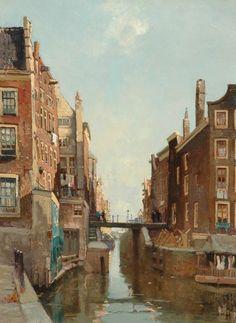 Willem Alexander Knip (1883-1967) - 'Het Kolkje', Amsterdam. Oil on canvas, 60 x 44,5 cm.