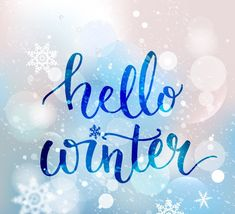 Brush lettering at blue winter background with snowflakes and bokeh lights. Vector card design with custom calligraphy , Wallpaper Winter, Handy Wallpaper, Sea Wallpaper, Images Wallpaper, First Day Of Winter, Winter Time, Winter Season, Winter Holidays, Winter Images
