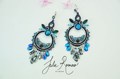 Gangster earrings bleu bermuda by Julie Romero Paris soutache earrings