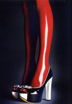 Black heels & nylon red socks by Atsuko Kudo...love the shoes, socks not as much.