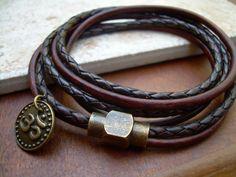 Leather Triple Wrap Bracelet with Om Charm by UrbanSurvivalGearUSA
