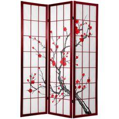 Cherry Blossom 6-foot Shoji Screen Rosewood