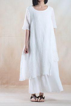 White dress pleated linen sundress long linen maxi dresses plus size