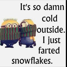 Its So Cold I Just Farted Snowflakes winter minion minions winter quotes winter humor minion quotes funny winter quotes quotes about winter winter humor quotes funny quotes about winter Funny Minion Pictures, Funny Minion Memes, Minions Quotes, Funny Jokes, Minion Humor, Hilarious Quotes, Funny Pictures Hilarious, Funny Winter Pictures, Funny Work Quotes
