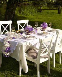 These are our chairs, and similar wine glasses. Idea for styling an outdoor dinner party?
