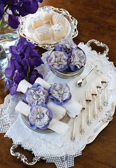 lovely violets and cream setting ~ silver, lace, and flowers - real and paper