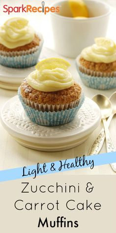 These healthy zucchini & carrot-cake muffins with citrus icing are the perfect spring treat!   via @SparkPeople #food #recipe #snack #dessert #cupcake