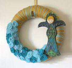 Yarn & felt wreath (minus the angel)