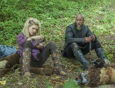 Katheryn Winnick as Lagertha (sharpening her axe) & Travis Fimmel as Ragnar in Vikings
