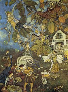 An unpublished fairy illustration by Edmund Dulac (1882 - 1953). Source