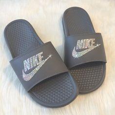 df3e8004c3f0 Blinged Glitter Nike Slides Swarovski GREY Custom NIKE JDI