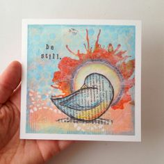 "Fine art print, 5x5 of a mixed media original, ""Be Still"" {Psalm 46:10}"