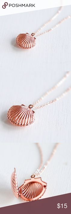 Rose gold Mermaid Sea Shell Locket Necklace. This gorgeous Fashion necklace features a highly detailed rose gold plated seashell locket hanging from a high quality rose gold plated cable chain. Shell locket opens up to hold two pictures close to your heart. Materials: golden shell locket , Handmade item MaterialStainless steel Item Length4 inches Chain length:24'' , color:rose gold Fast shipping OHSOJAZZY Jewelry Necklaces