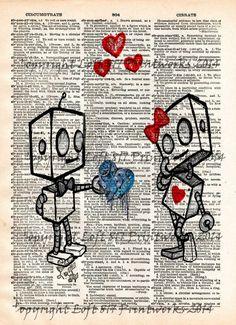 Robot love, cute robot art print, vintage dictionary page art