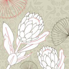 protea design - Google Search Protea Art, Protea Flower, Botanical Line Drawing, Botanical Art, Cute Sewing Projects, Art Projects, Art Floral, Wildflower Drawing, Australian Native Flowers