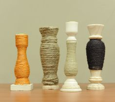 Jute and Twine Wrapped Candlesticks