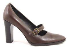 New Via Spiga Brown Leather Maryjane Mary Jane Heels Pumps Shoes Italy 56 US 6 5 | eBay