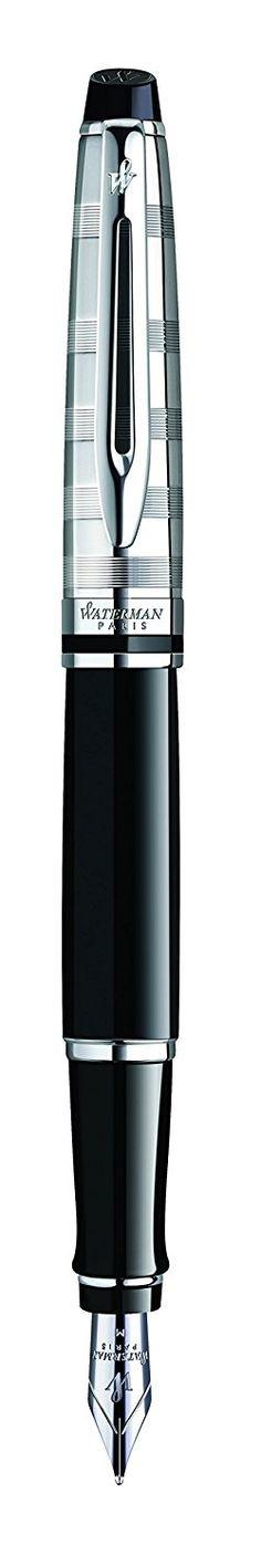 Waterman Expert Gold Trim Fountain Pen, Medium Nib - Black: Amazon.co.uk: Office Products